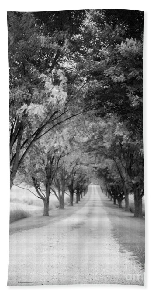 Driveway Bath Towel featuring the photograph The Long Road Home by Edward Fielding
