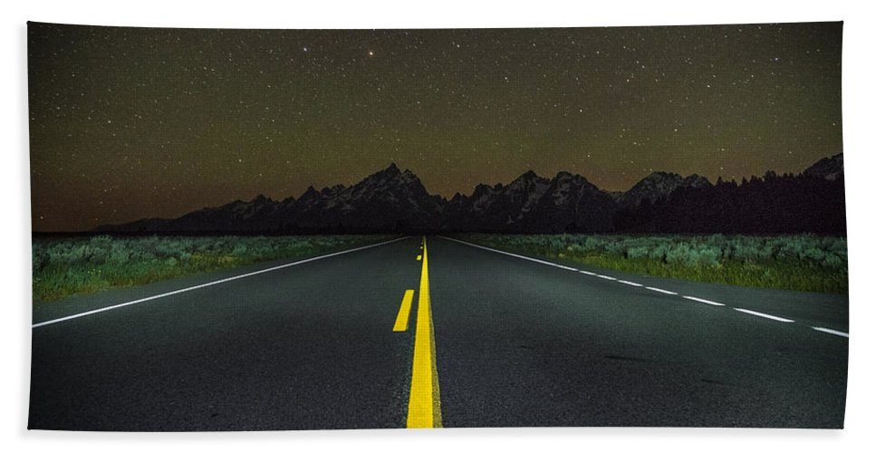 Grand Teton Hand Towel featuring the photograph The Long Road by Kristopher Schoenleber