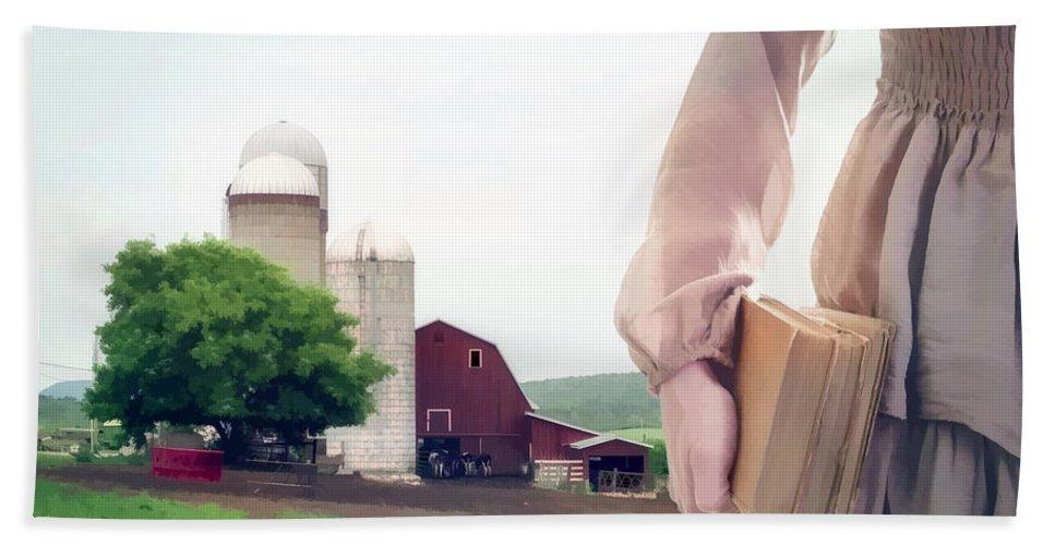 Farm Bath Towel featuring the photograph The Long Walk To School by Edward Fielding