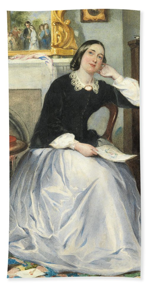 Female Bath Sheet featuring the painting The Love Token by Frederick Walker