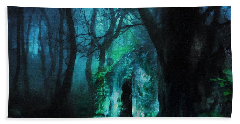 The Lovers Cottage By Night Hand Towel featuring the digital art The Lovers Cottage By Night by Georgiana Romanovna