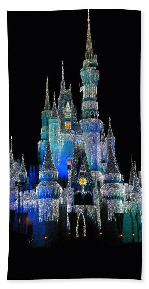 Magic Kingdom Bath Sheet featuring the photograph The Magic Kingdom Castle In Frosty Dark Blue Walt Disney World by Thomas Woolworth