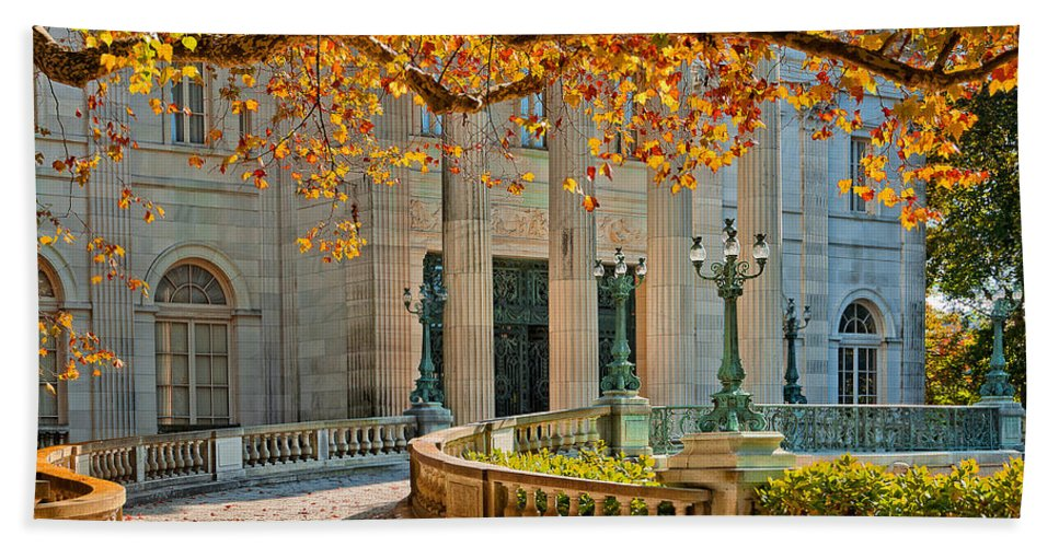 Newport Bath Sheet featuring the photograph The Marble House In Autumn by Mitchell R Grosky