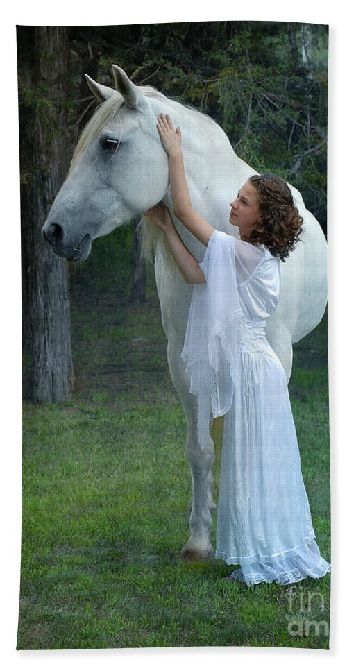 White Horse Bath Sheet featuring the photograph The Mare And The Maiden by Fran J Scott