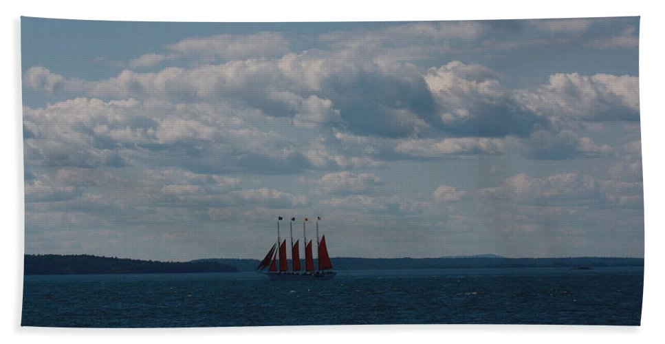 Maine Hand Towel featuring the photograph Margaret Todd - The Schooner by Dora Sofia Caputo Photographic Design and Fine Art