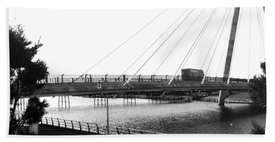 Marine Lake Hand Towel featuring the photograph The Marine Road Bridge Southport 2 by Joan-Violet Stretch