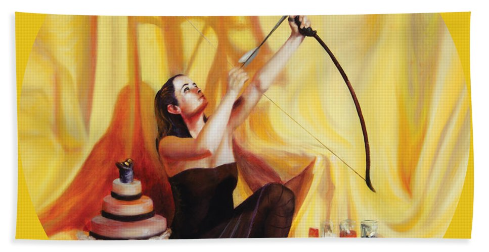 Shelley Irish Bath Sheet featuring the painting The Markswoman by Shelley Irish