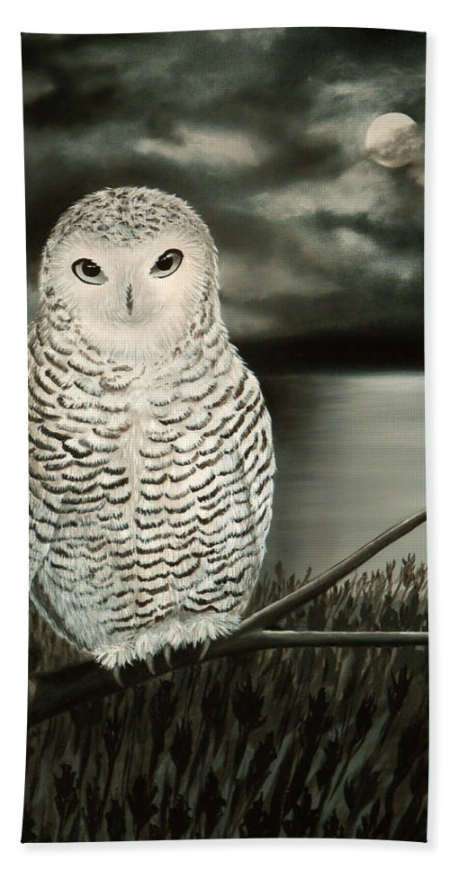 Owl Hand Towel featuring the painting The Marsh At Night by Liz Boston