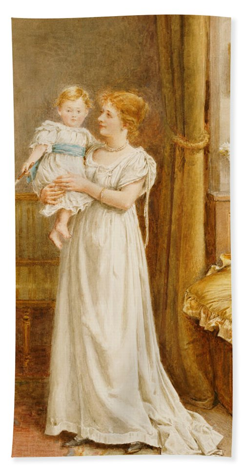 Mother; Child; Baby; Toddler; Son; Boy; Male; Female; Interior; 19th; 20th; Dress; Holding; Maternal; Affection; Love Hand Towel featuring the painting The Master Of The House by George Goodwin Kilburne
