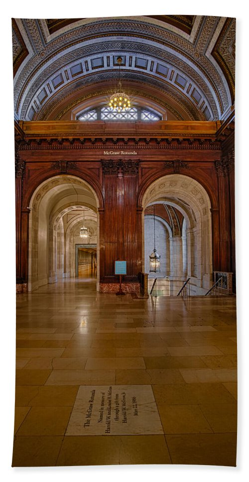 Nypl Bath Sheet featuring the photograph The Mcgraw Rotunda At The New York Public Library by Susan Candelario