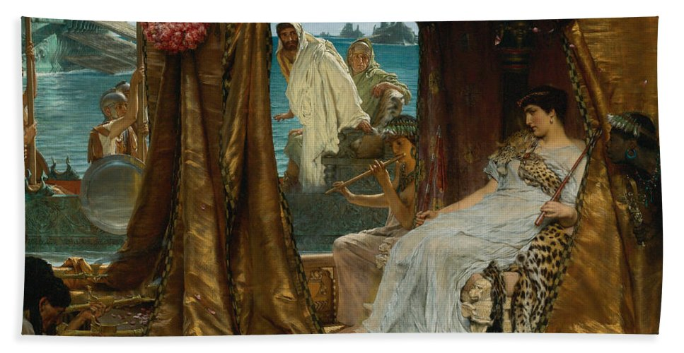Lawrence Alma-tadema Hand Towel featuring the painting The Meeting Of Antony And Cleopatra 41 Bc by Lawrence Alma-Tadema