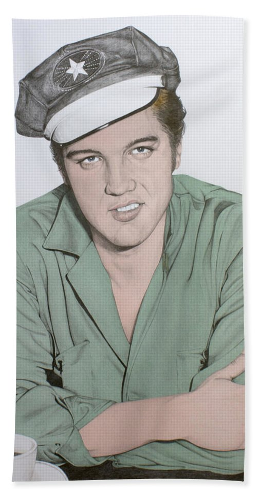 Elvis Hand Towel featuring the drawing The Memphis Flash by Rob De Vries