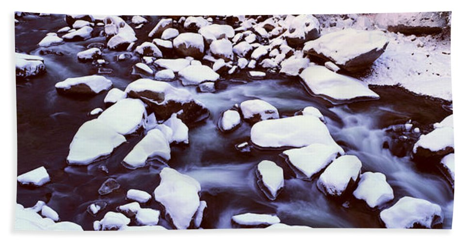 Photography Hand Towel featuring the photograph The Merced River In Winter, Yosemite by Panoramic Images