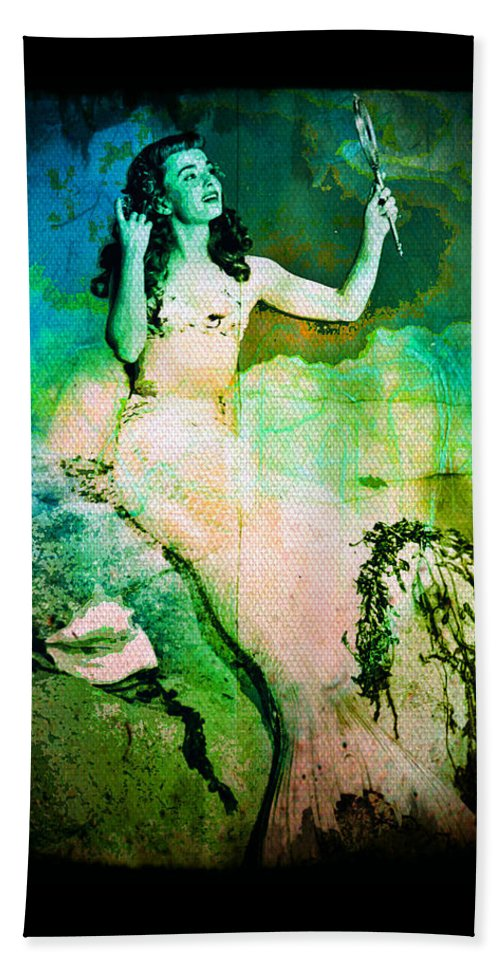 Mermaid Hand Towel featuring the digital art The Mermaid Mirror by Absinthe Art By Michelle LeAnn Scott