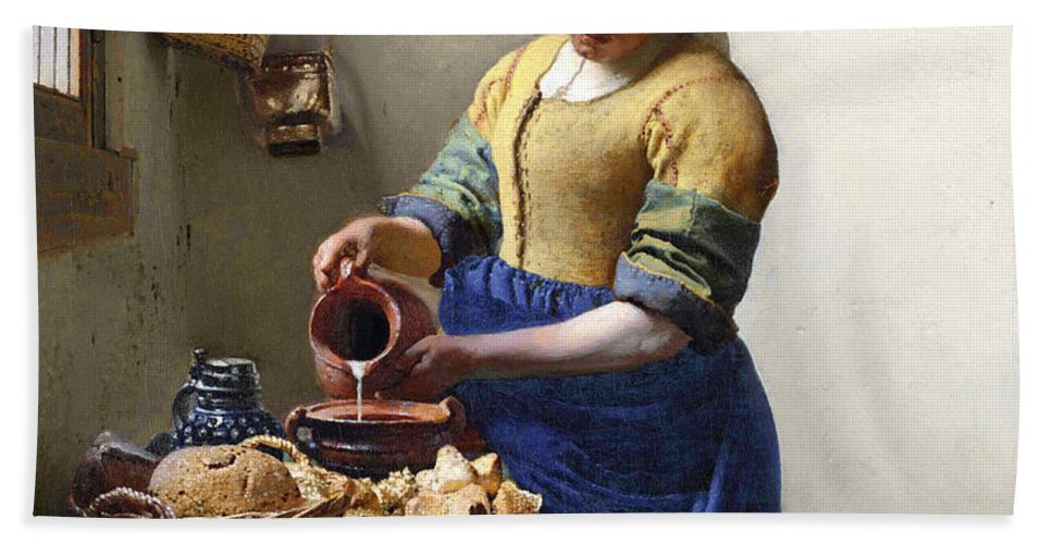 Female Portrait; Kitchen; Scullery; Interior; Bread Basket; Table; Loaf; Bonnet; Servant; Pouring; Milk; Maid; Domestic; Rustic; La Laitiere Hand Towel featuring the painting The Milkmaid by Jan Vermeer