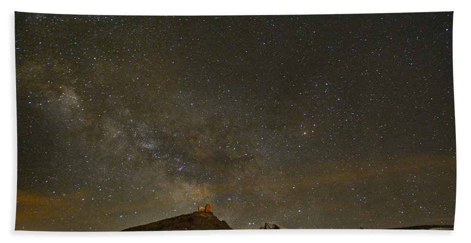Milky Way Bath Sheet featuring the photograph the Milky Way Sagittarius and Antares over the Sierra Nevada National Park by Guido Montanes Castillo