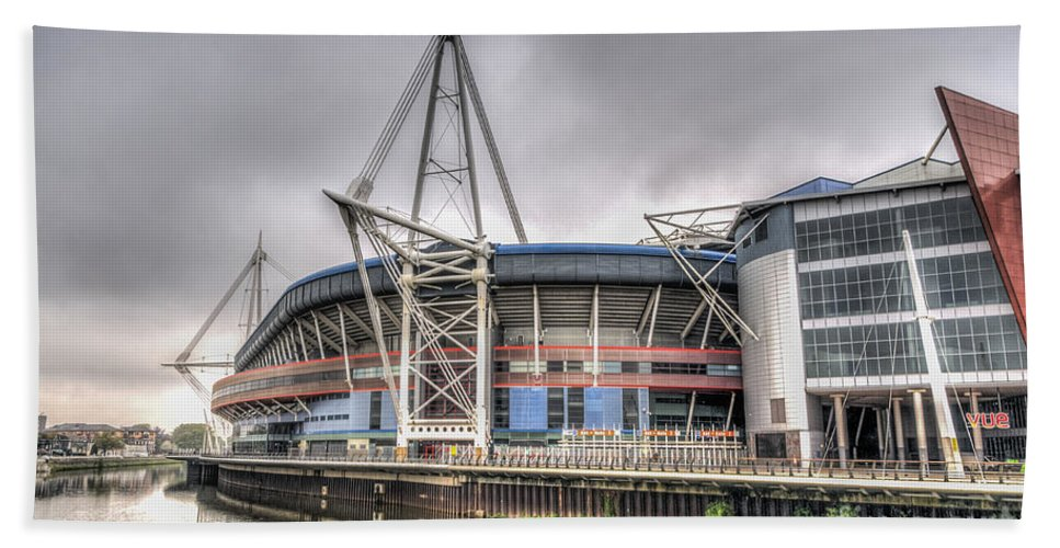 The Millennium Stadium Hand Towel featuring the photograph The Millennium Stadium by Steve Purnell