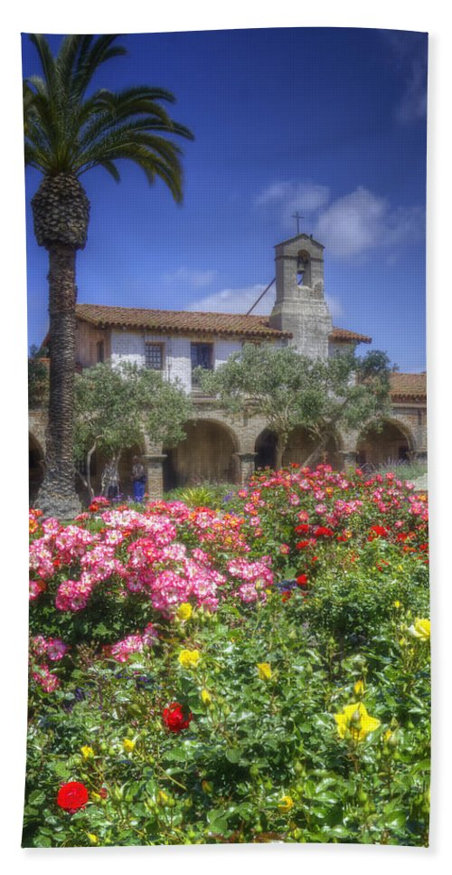 California Missions Bath Sheet featuring the photograph The Mission by Joan Carroll