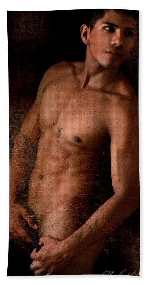Male Nude Art Hand Towel featuring the photograph The Moment by Mark Ashkenazi
