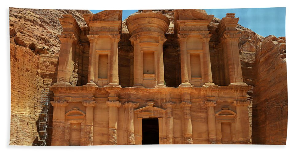 Ad-dayr Hand Towel featuring the photograph The Monastery At Petra by Stephen Stookey