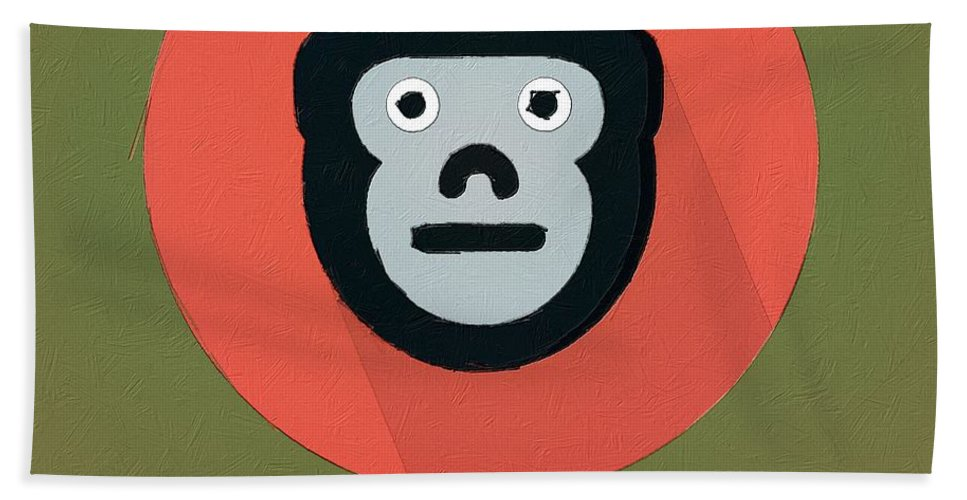 Monkey Hand Towel featuring the painting The Monkey Cute Portrait by Florian Rodarte