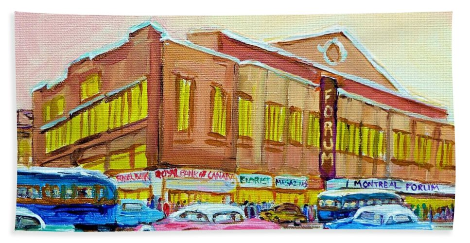 Montreal Hand Towel featuring the painting The Montreal Forum by Carole Spandau