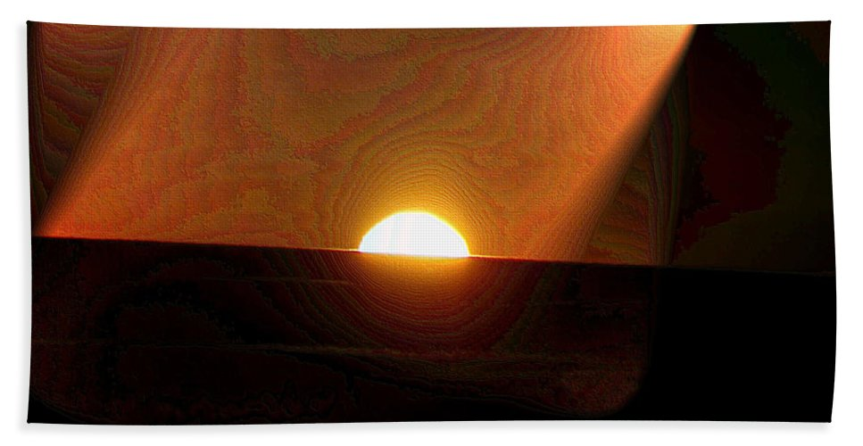 Sunrsie Bath Sheet featuring the photograph The Morning Light Show by Jeff Swan