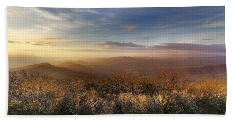 Appalachia Hand Towel featuring the photograph The Mountains Of Brasstown Bald by Debra and Dave Vanderlaan