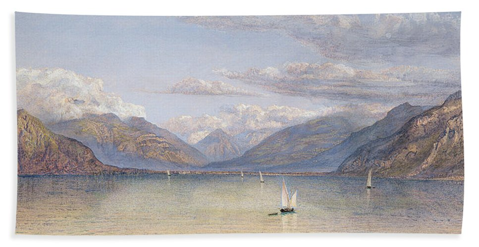 The Bath Sheet featuring the painting The Mountains Of St Gingolph by John Brett