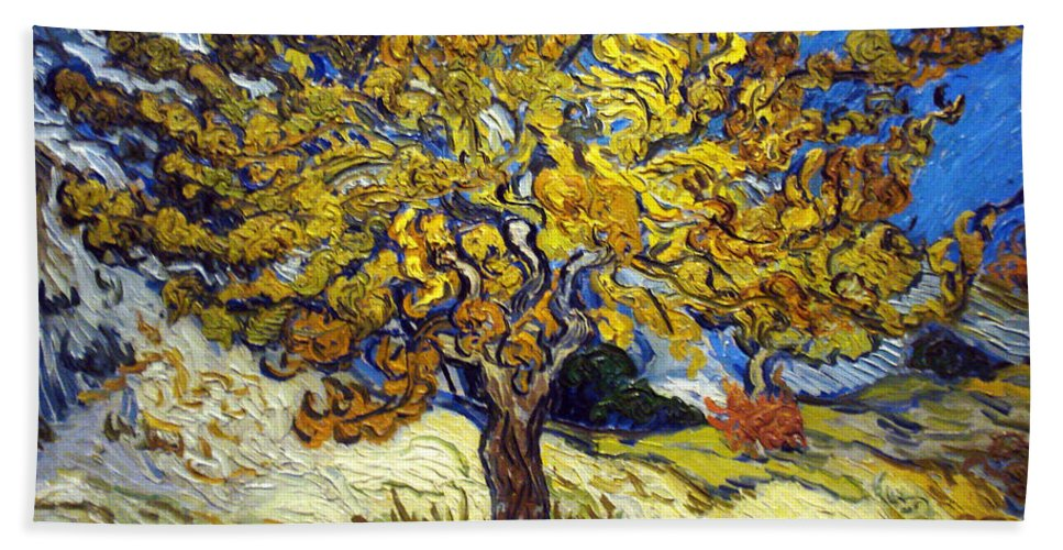 Vincent Van Gogh Hand Towel featuring the painting The Mulberry Tree by Vincent van Gogh
