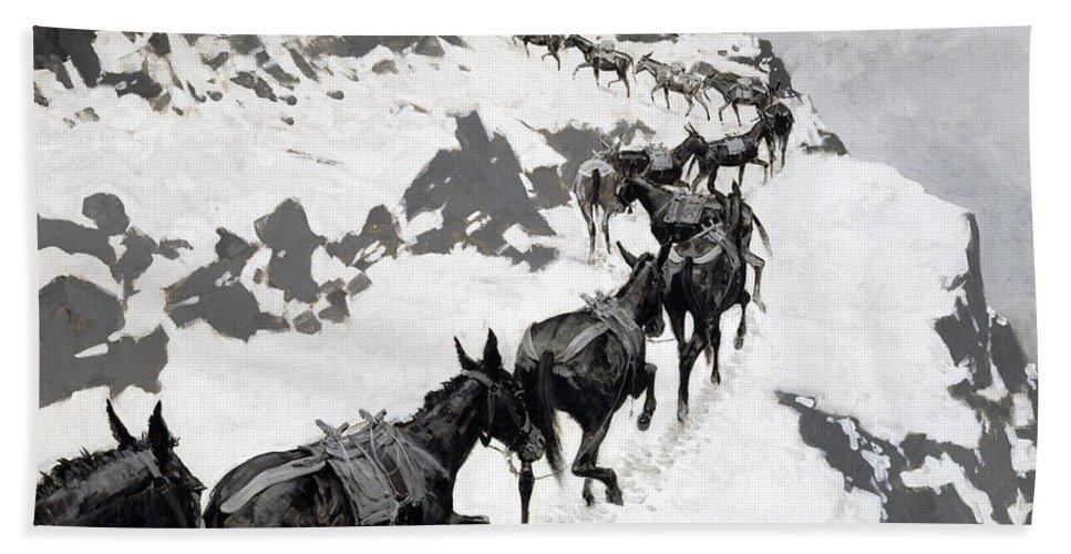 Frederic Remington Bath Sheet featuring the painting The Mule Pack by Frederic Remington