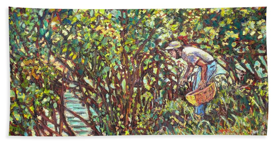 Landscape Bath Towel featuring the painting The Mushroom Picker by Kendall Kessler