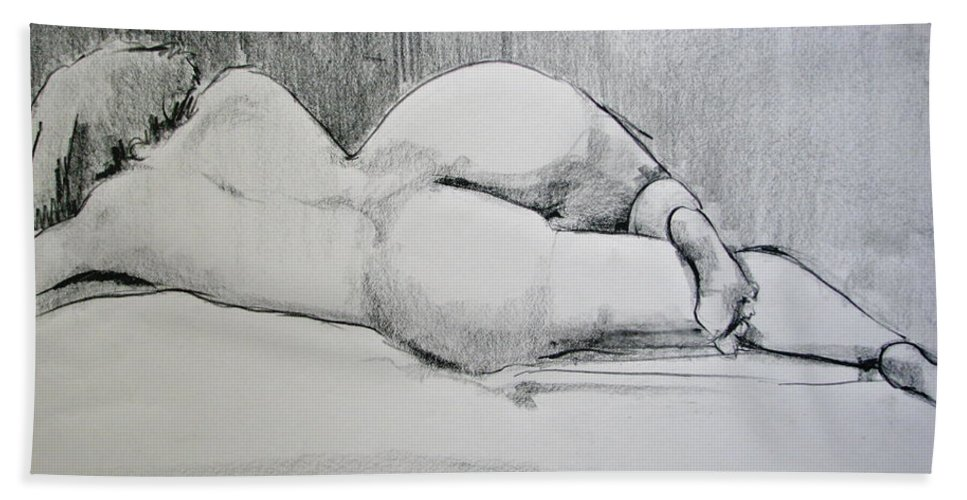 Nude Bath Sheet featuring the drawing The Nap by Rory Sagner