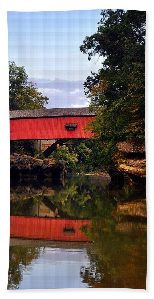 Covered Bridge Bath Sheet featuring the photograph The Narrows Covered Bridge 5 by Marty Koch