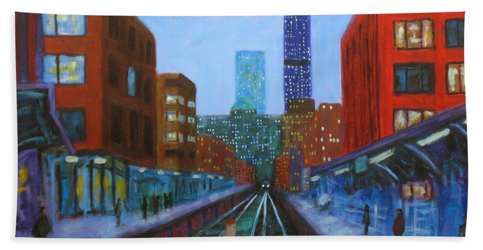 Chicago Art Hand Towel featuring the painting The Next Train by J Loren Reedy