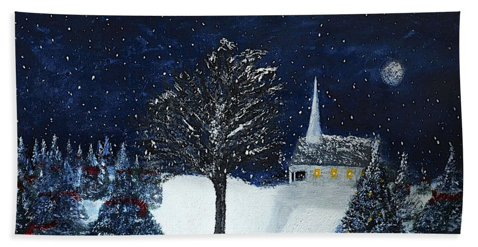 Christmas Hand Towel featuring the painting The Night Before Christmas by Dick Bourgault