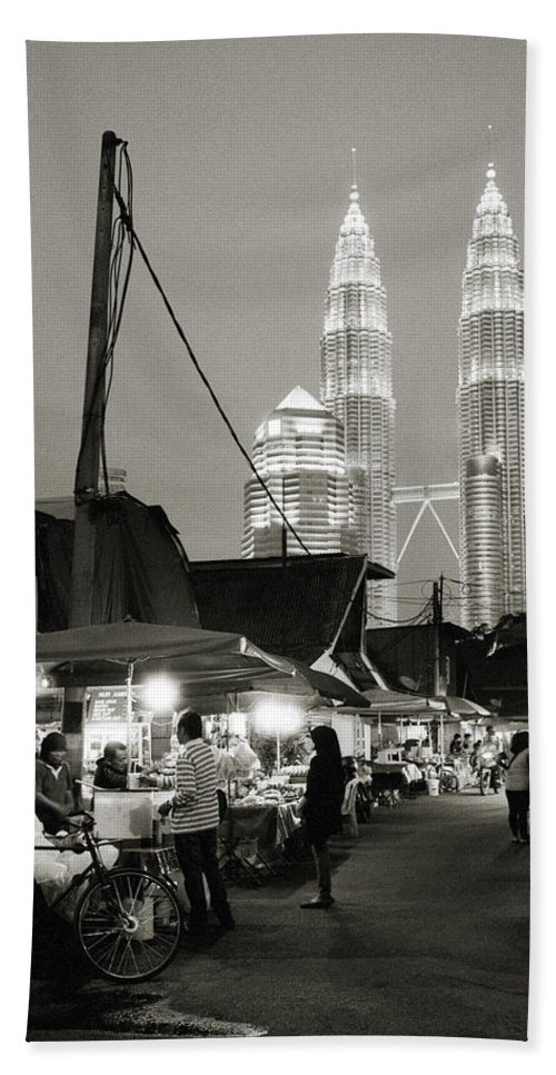 Kampung Baru Hand Towel featuring the photograph The Night Market by Shaun Higson