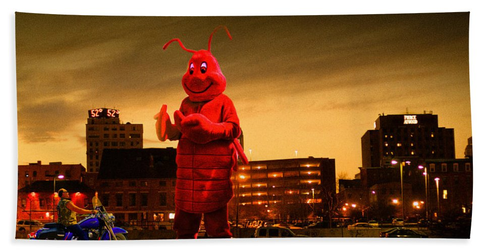 Lobsterman Bath Sheet featuring the photograph The Night Of The Lobster Man by Bob Orsillo