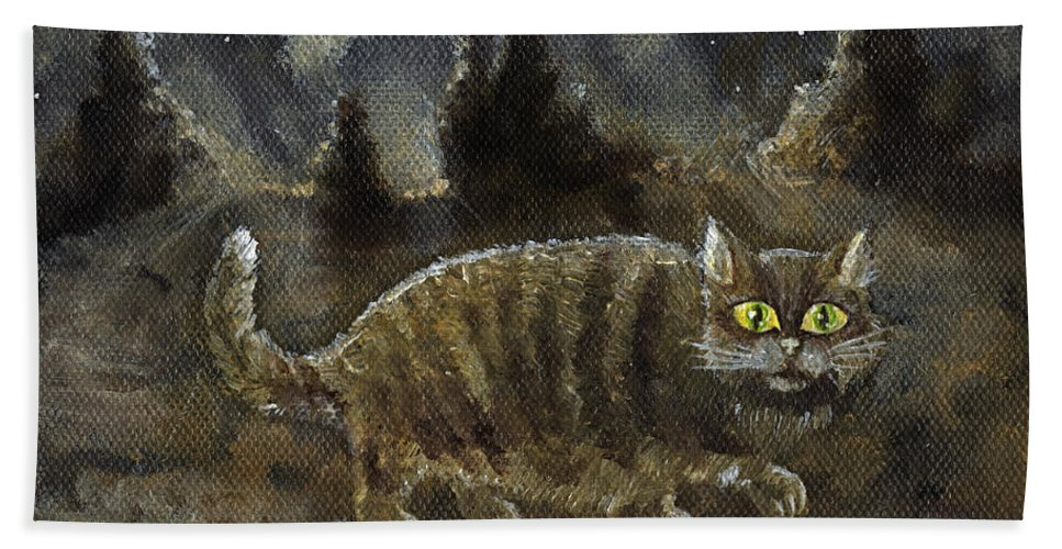 Cat Bath Sheet featuring the painting The Night Stalker by Angel Ciesniarska