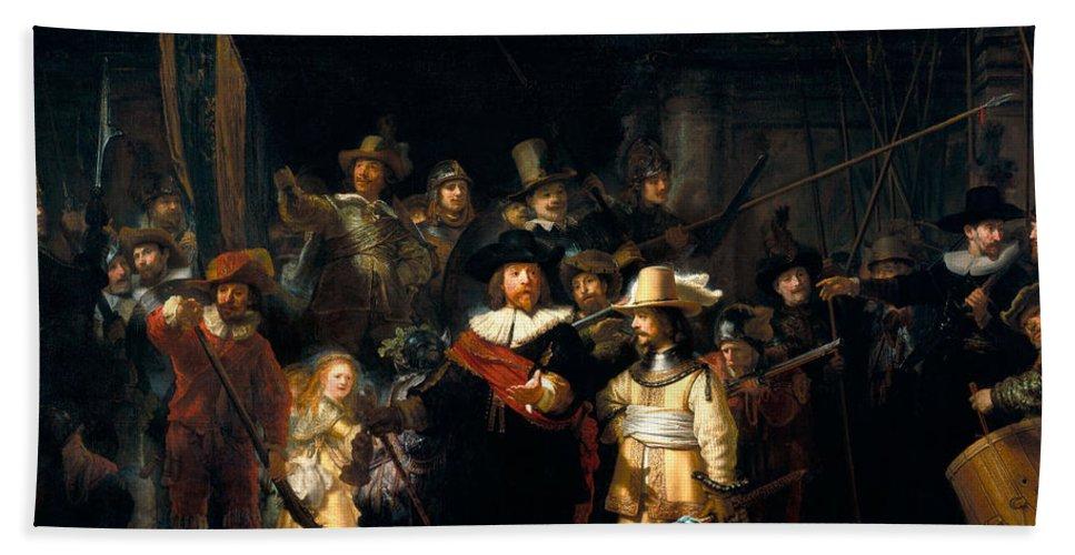 Rembrandt Van Rijn Hand Towel featuring the digital art The Night Watch by Rembrandt van Rijn