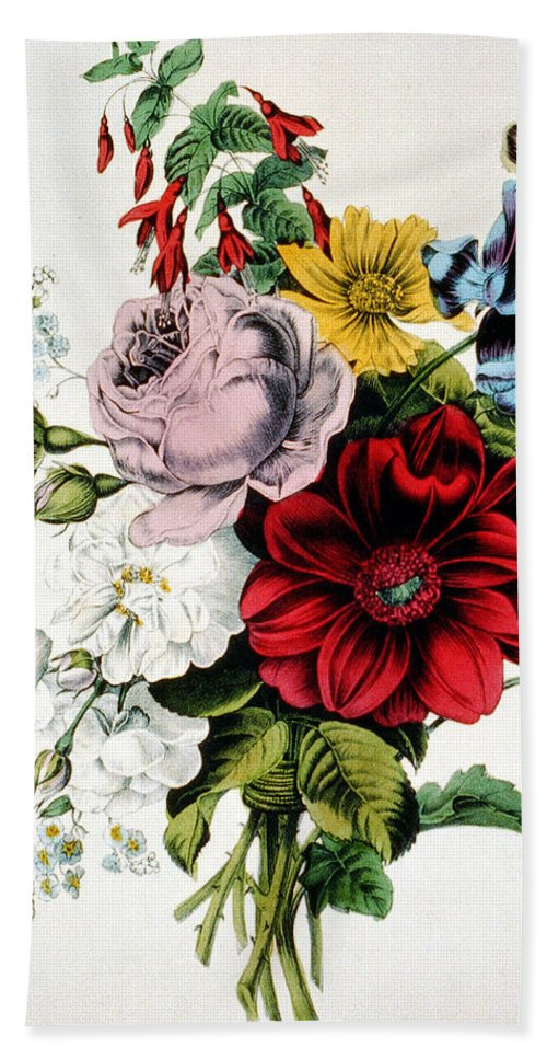 The Nosegay Hand Towel featuring the digital art The Nosegay by Currier and Ives
