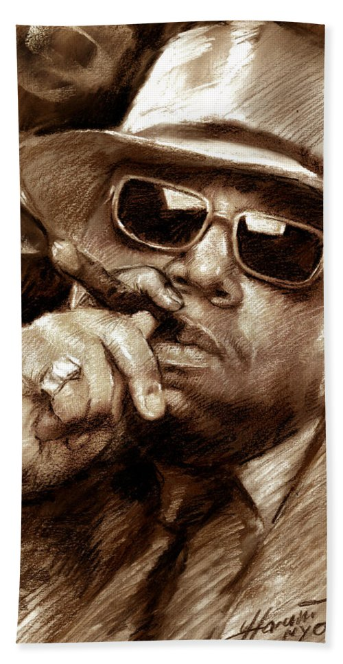 The Notorious B.i.g. Hand Towel featuring the drawing The Notorious B.i.g. by Viola El
