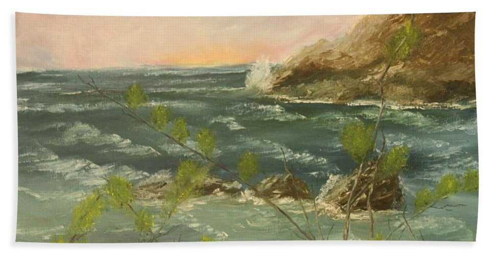 Seascape Hand Towel featuring the painting The Ocean View by Lou Magoncia