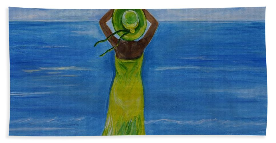Woman Painting Bath Sheet featuring the painting The Oceans Beauty by Leslie Allen