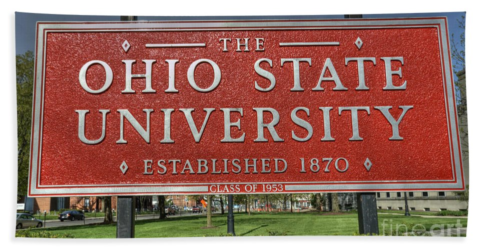 Ohio State Bath Sheet featuring the photograph The Ohio State University by David Bearden