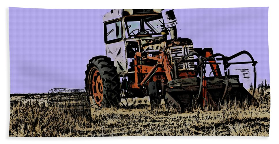 Old Tractor Hand Towel featuring the digital art The Old Allis by Cathy Anderson