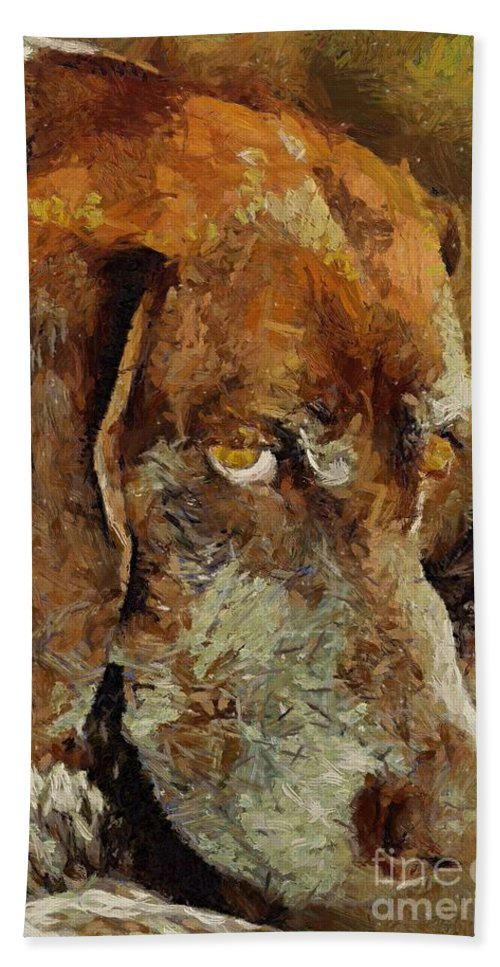 Animal Hand Towel featuring the painting The Old Boy by Dragica Micki Fortuna