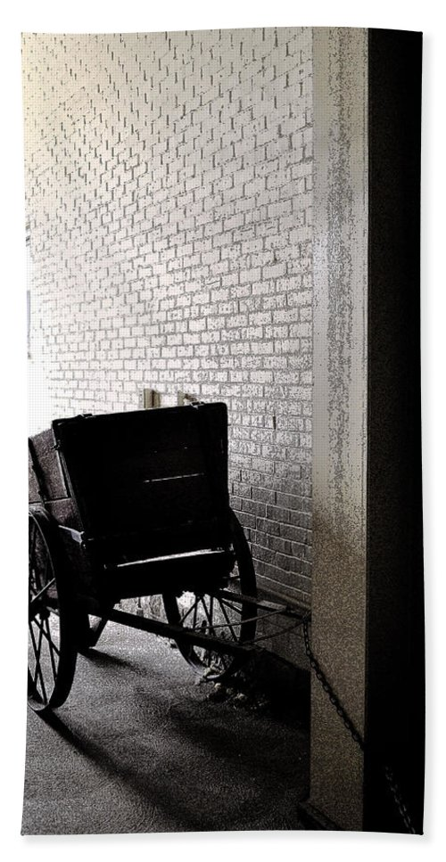 Cart Bath Sheet featuring the photograph The Old Cart From The Series View Of An Old Railroad by Verana Stark