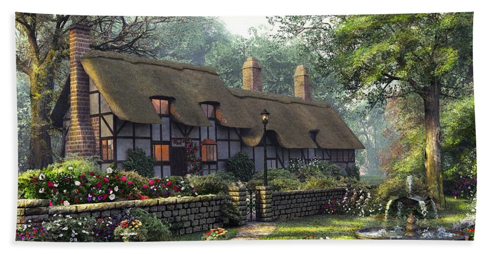 Cottage Hand Towel featuring the digital art The Old Cottage by MGL Meiklejohn Graphics Licensing