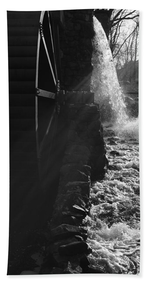 Wayside Inn Hand Towel featuring the photograph The Old Grist Mill - Black And White by Luke Moore